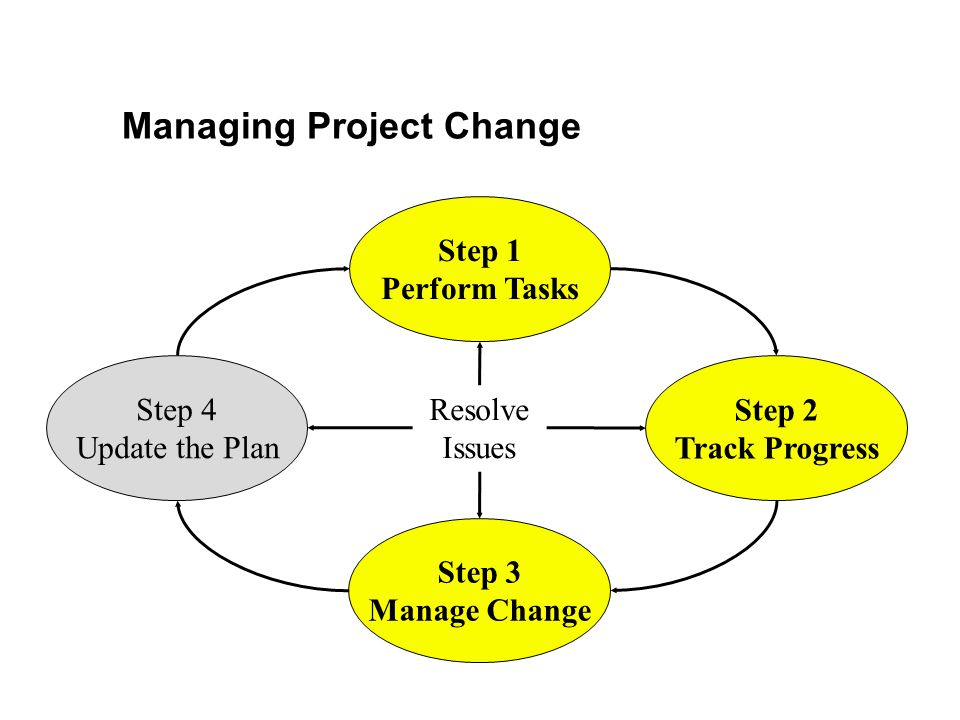 Managing Project Change Step 4 Update the Plan Step 1 Perform Tasks Step 3 Manage Change Step 2 Track Progress Resolve Issues