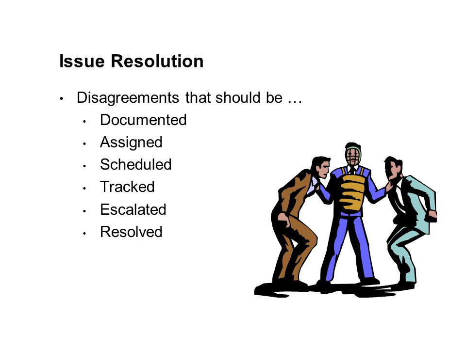 Issue Resolution Disagreements that should be … Documented Assigned Scheduled Tracked Escalated Resolved