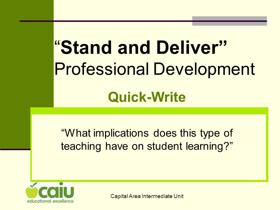 There are No implications: The problem is that too many students sit, disengaged, giving no indication that they are thinking or learning and the teacher only knows that 2-3 students understand the concept.