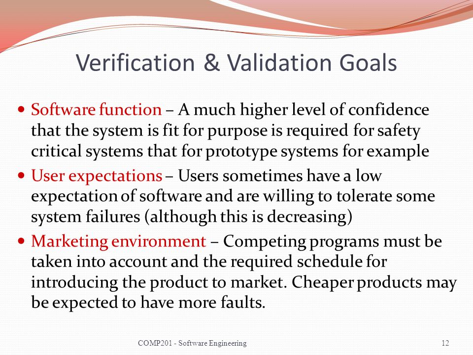Verification & Validation Goals Software function – A much higher level of confidence that the system is fit for purpose is required for safety critic