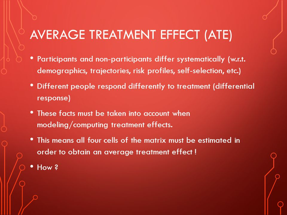 AVERAGE TREATMENT EFFECT (ATE) Participants and non-participants differ systematically (w.r.t. demographics, trajectories, risk profiles, self-selecti