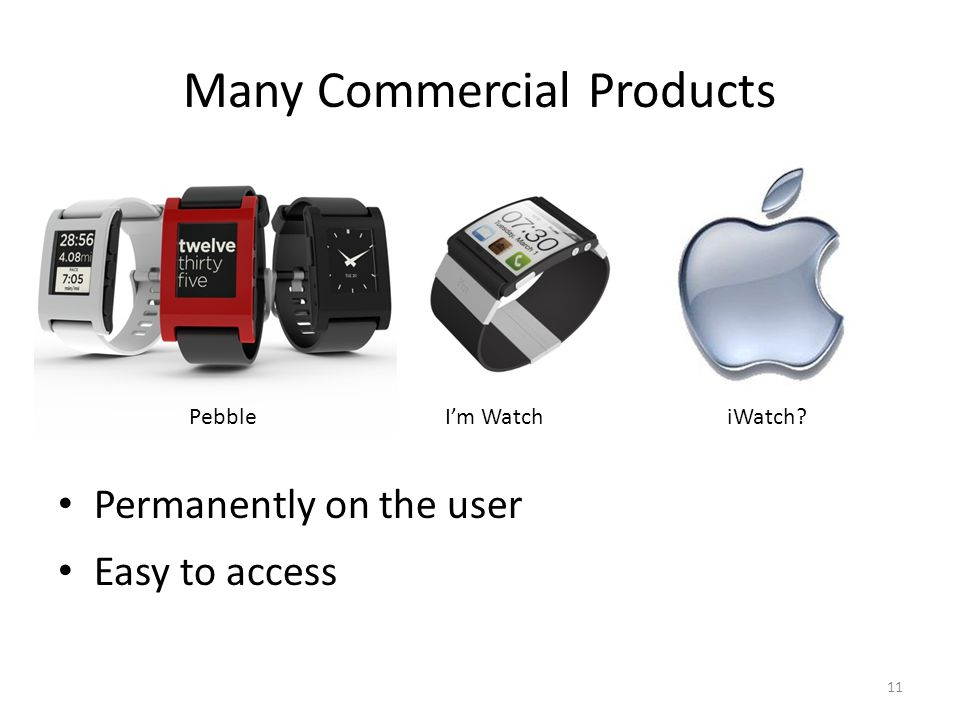 Many Commercial Products Permanently on the user Easy to access 11 PebbleIm WatchiWatch