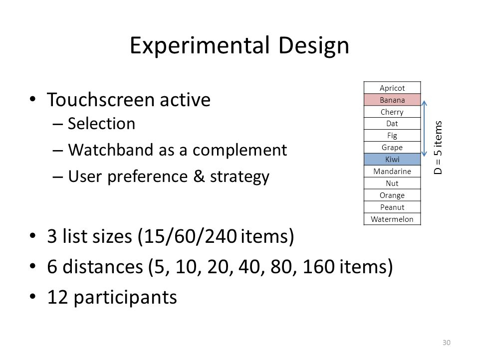 Experimental Design Touchscreen active – Selection – Watchband as a complement – User preference & strategy 3 list sizes (15/60/240 items) 6 distances (5, 10, 20, 40, 80, 160 items) 12 participants 30 Apricot Banana Cherry Dat Fig Grape Kiwi Mandarine Nut Orange Peanut Watermelon D = 5 items
