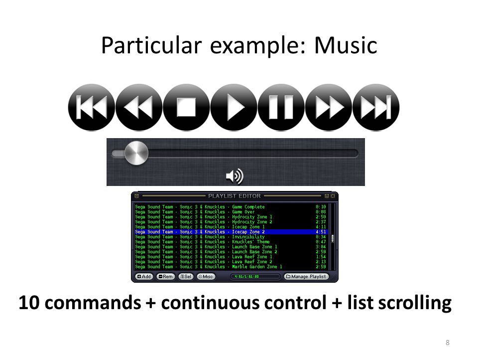 Particular example: Music 10 commands + continuous control + list scrolling 8