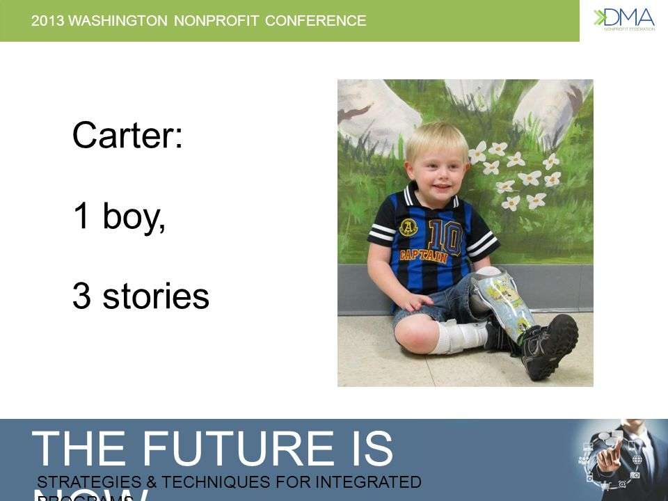 THE FUTURE IS NOW STRATEGIES & TECHNIQUES FOR INTEGRATED PROGRAMS 2013 WASHINGTON NONPROFIT CONFERENCE Carter: 1 boy, 3 stories