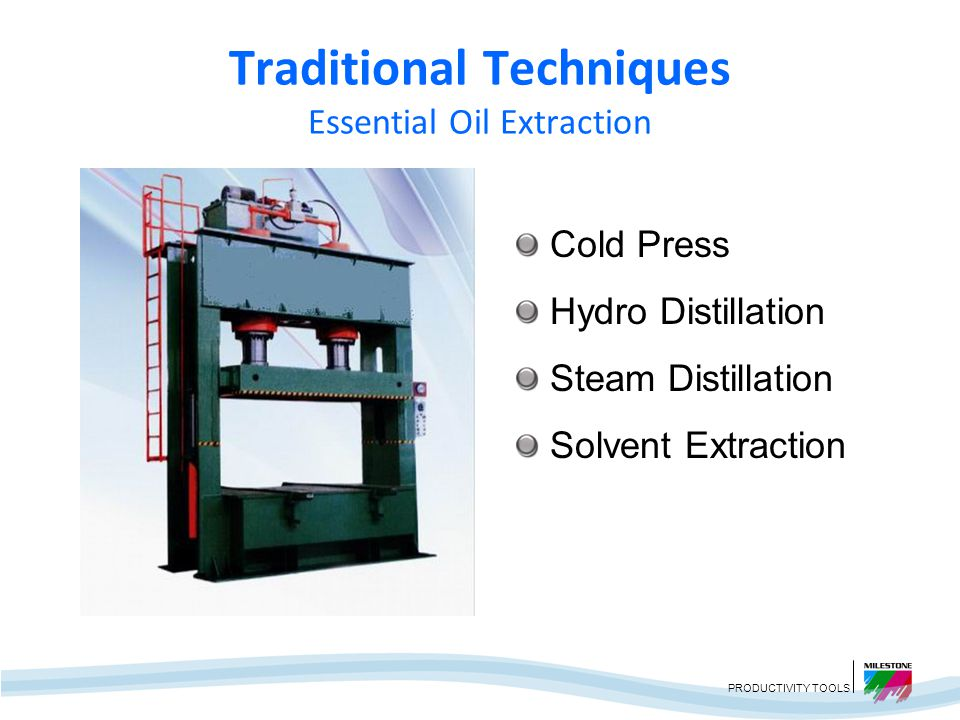 PRODUCTIVITY TOOLS Traditional Techniques Essential Oil Extraction Long Extraction Times Poor Recovery High Energy Consumed Loss of Some Volatile Components Thermal or Hydrolytic Degradation Presence of Toxic Residues