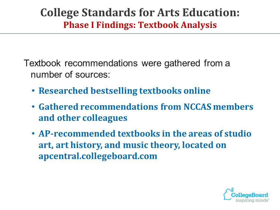 College Standards for Arts Education: Phase I Findings: Textbook Analysis Textbook recommendations were gathered from a number of sources: Researched