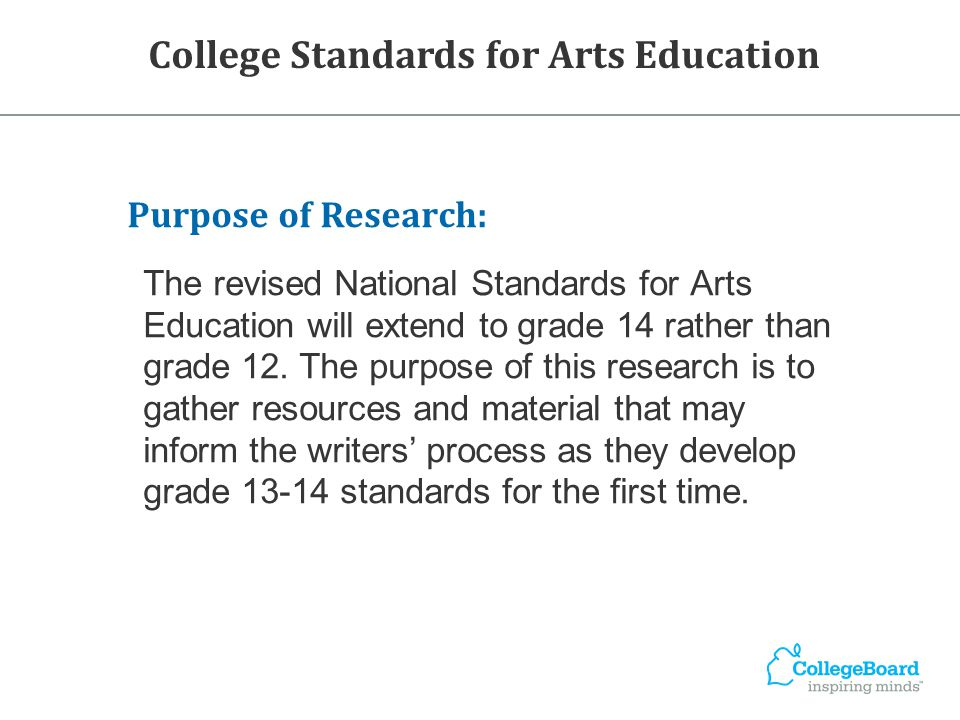 Purpose of Research: The revised National Standards for Arts Education will extend to grade 14 rather than grade 12. The purpose of this research is t