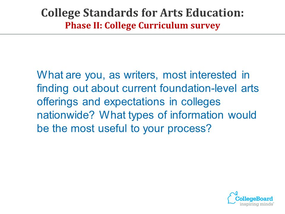 What are you, as writers, most interested in finding out about current foundation-level arts offerings and expectations in colleges nationwide? What t