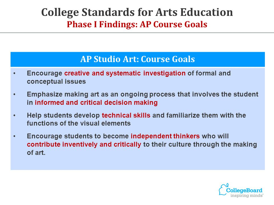 College Standards for Arts Education Phase I Findings: AP Course Goals AP Studio Art: Course Goals Encourage creative and systematic investigation of