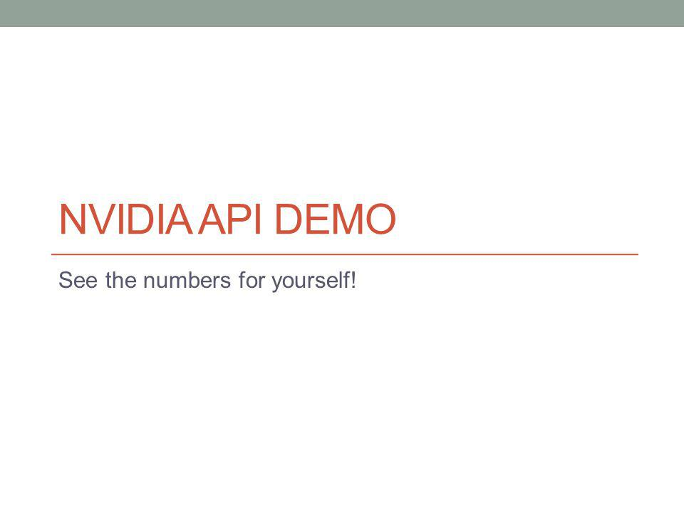 NVIDIA API DEMO See the numbers for yourself!