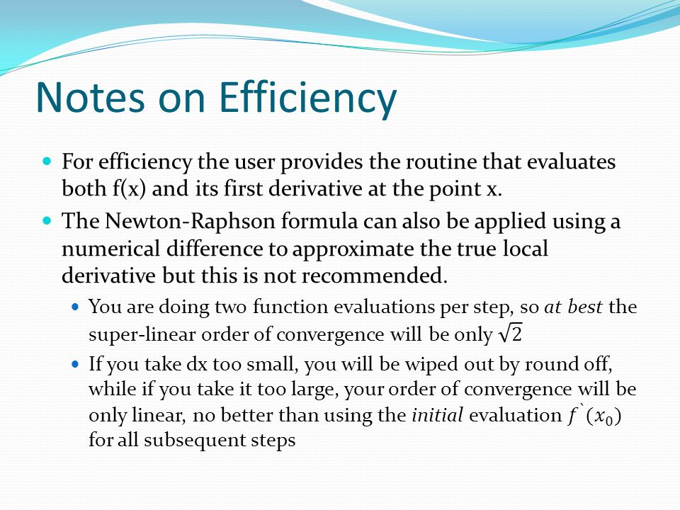 Notes on Efficiency