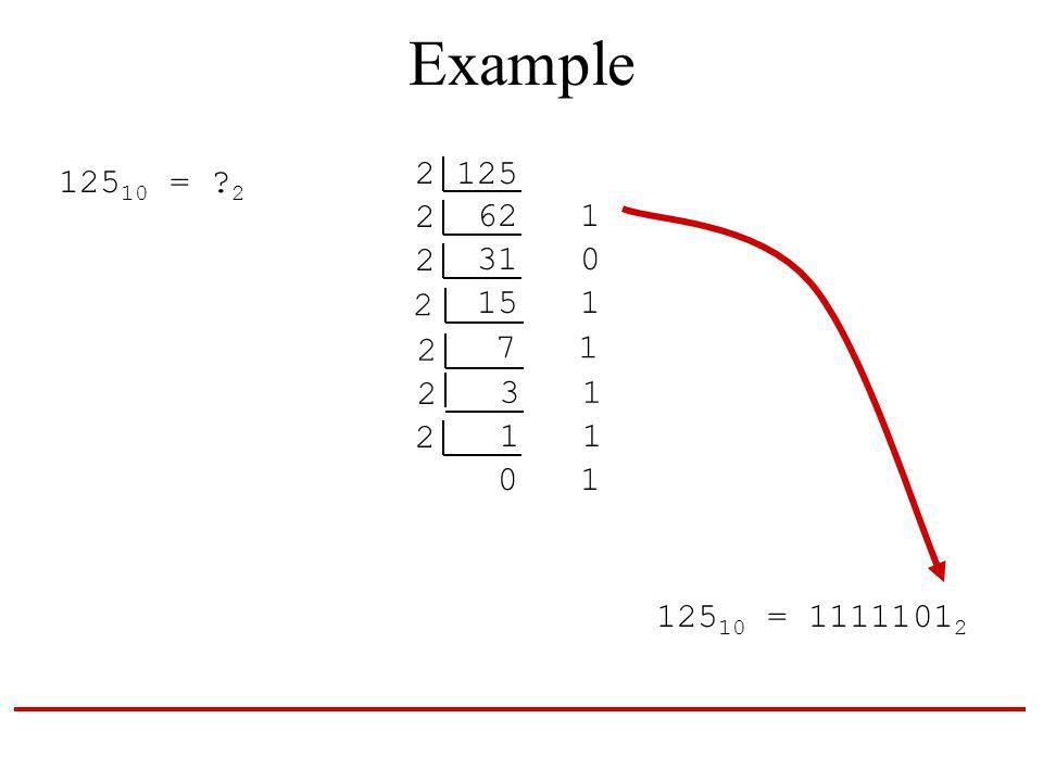 Example 125 10 = 2 2 125 62 1 2 31 0 2 15 1 2 7 1 2 3 1 2 1 1 2 0 1 125 10 = 1111101 2