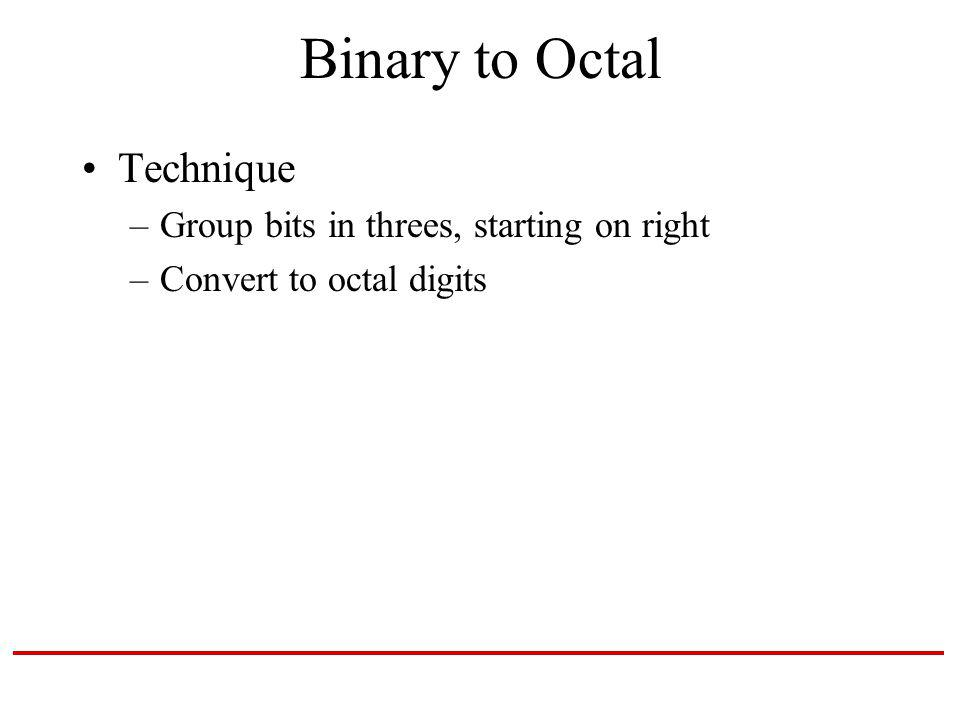 Binary to Octal Technique –Group bits in threes, starting on right –Convert to octal digits