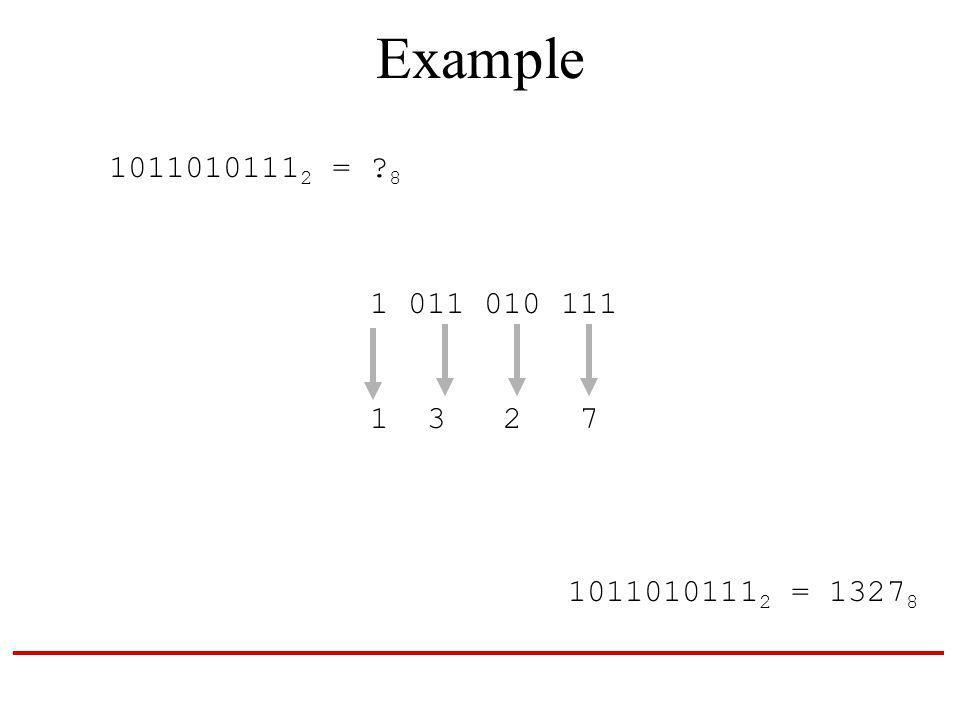Example 1011010111 2 = 8 1 011 010 111 1 3 2 7 1011010111 2 = 1327 8
