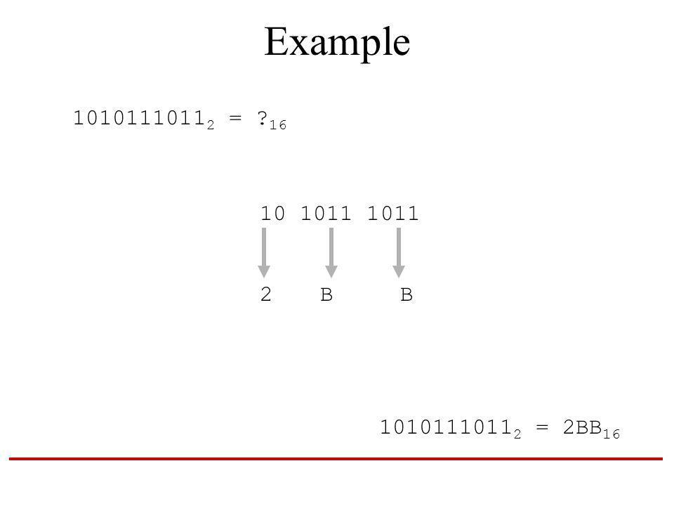 Example 1010111011 2 = 16 10 1011 1011 2 B B 1010111011 2 = 2BB 16