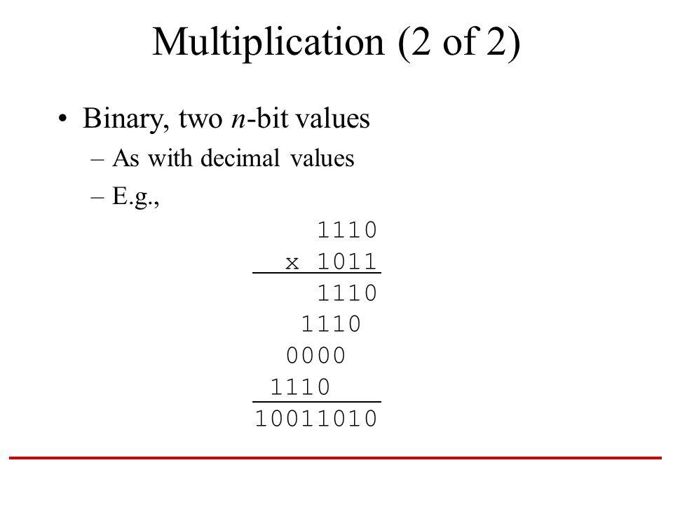 Multiplication (2 of 2) Binary, two n-bit values –As with decimal values –E.g., 1110 x 1011 1110 1110 0000 1110 10011010