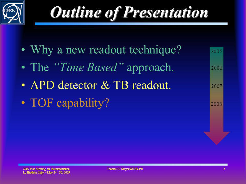 Outline of Presentation Why a new readout technique.