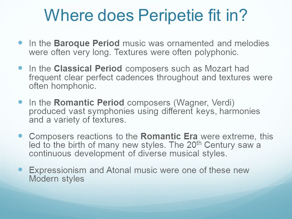 Where does Peripetie fit in.