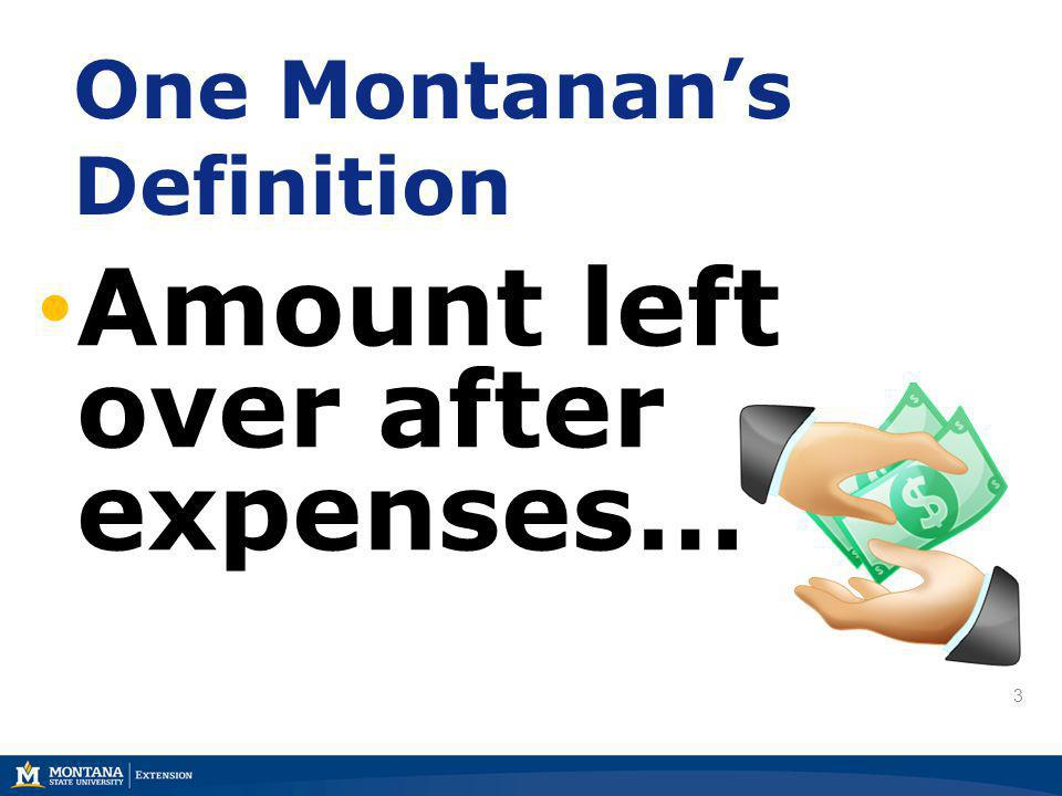 3 One Montanans Definition Amount left over after expenses… 3