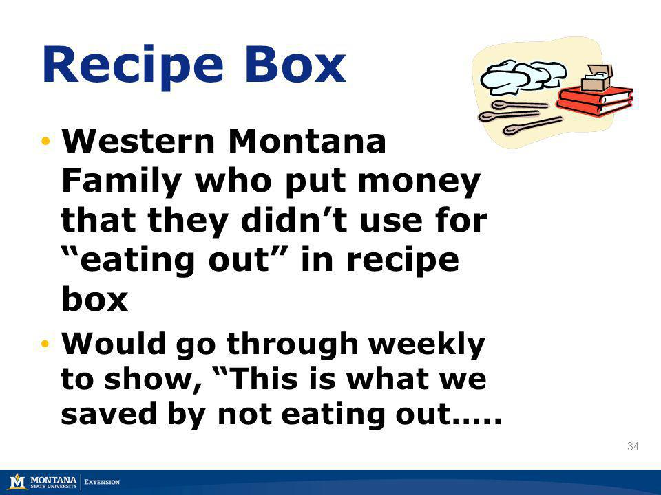 34 Recipe Box Western Montana Family who put money that they didnt use for eating out in recipe box Would go through weekly to show, This is what we saved by not eating out…..