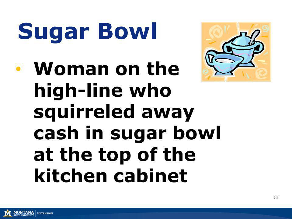 36 Sugar Bowl Woman on the high-line who squirreled away cash in sugar bowl at the top of the kitchen cabinet
