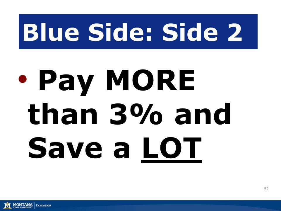 52 Blue Side: Side 2 Pay MORE than 3% and Save a LOT