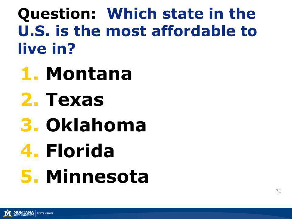 76 Question: Which state in the U.S. is the most affordable to live in? 1. Montana 2. Texas 3. Oklahoma 4. Florida 5. Minnesota 76