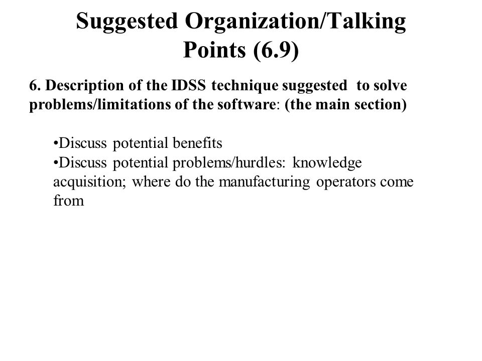 Suggested Organization/Talking Points (6.9) 6.