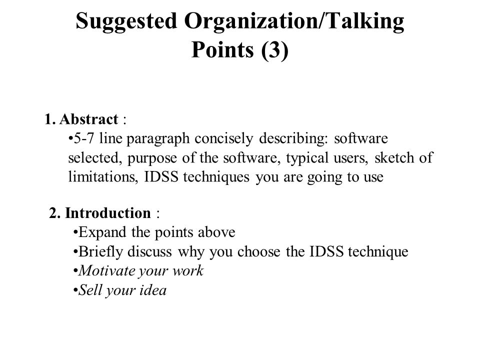 Example # 1 (3) 1.Abstract : (these are talking points.