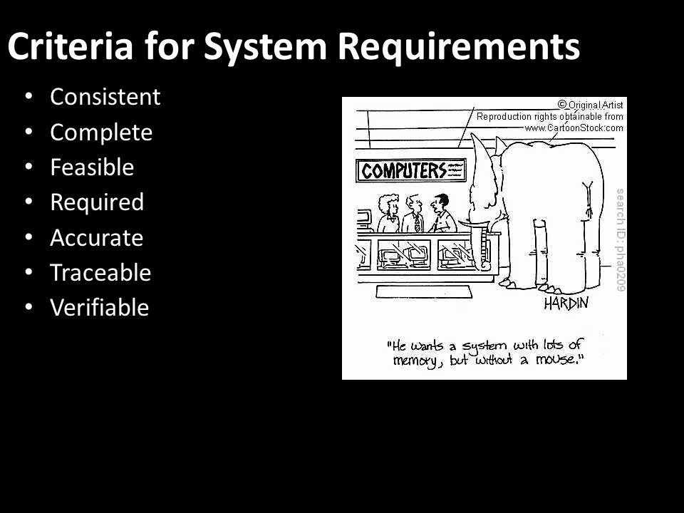 Criteria for System Requirements Consistent Complete Feasible Required Accurate Traceable Verifiable