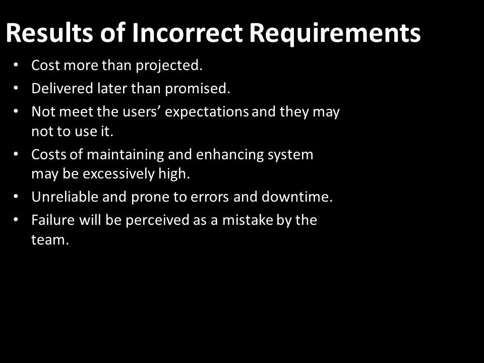 Results of Incorrect Requirements Cost more than projected.