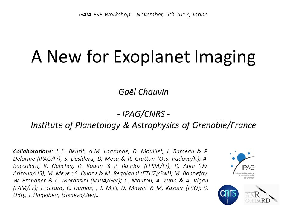 Outline A New Era for Exoplanet Imaging I- Introduction: Why Imaging.