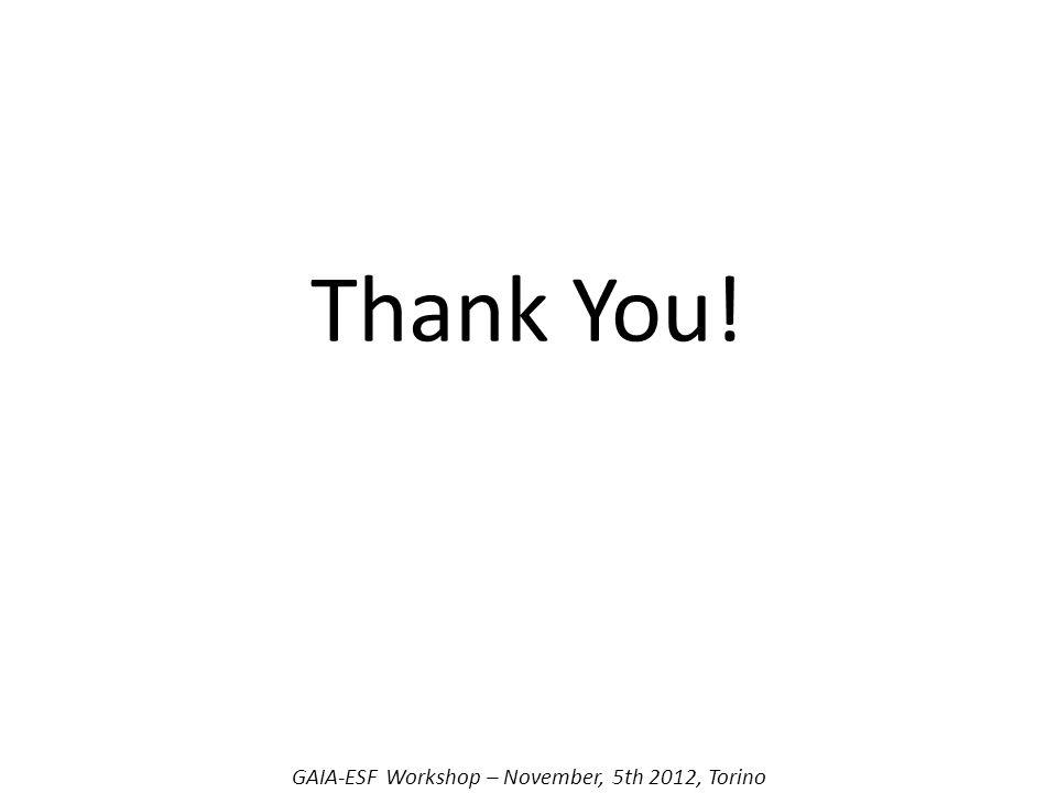 Thank You! GAIA-ESF Workshop – November, 5th 2012, Torino
