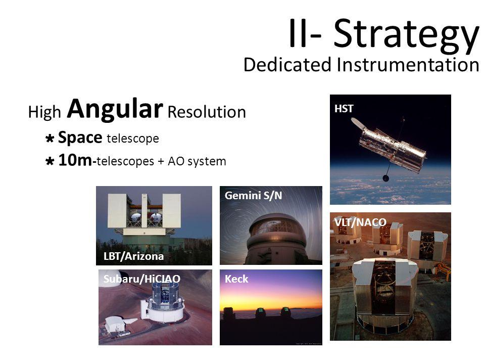 Dedicated Instrumentation High Angular Resolution Space telescope 10m -telescopes + AO system VLT/NACO Gemini S/N KeckSubaru/HiCIAO HST LBT/Arizona II- Strategy