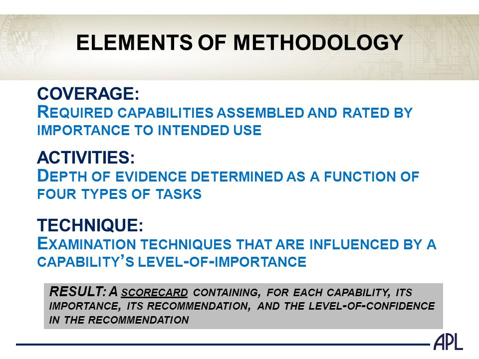 ELEMENTS OF METHODOLOGY COVERAGE: R EQUIRED CAPABILITIES ASSEMBLED AND RATED BY IMPORTANCE TO INTENDED USE ACTIVITIES: D EPTH OF EVIDENCE DETERMINED AS A FUNCTION OF FOUR TYPES OF TASKS TECHNIQUE: E XAMINATION TECHNIQUES THAT ARE INFLUENCED BY A CAPABILITY S LEVEL - OF - IMPORTANCE RESULT: A SCORECARD CONTAINING, FOR EACH CAPABILITY, ITS IMPORTANCE, ITS RECOMMENDATION, AND THE LEVEL - OF - CONFIDENCE IN THE RECOMMENDATION