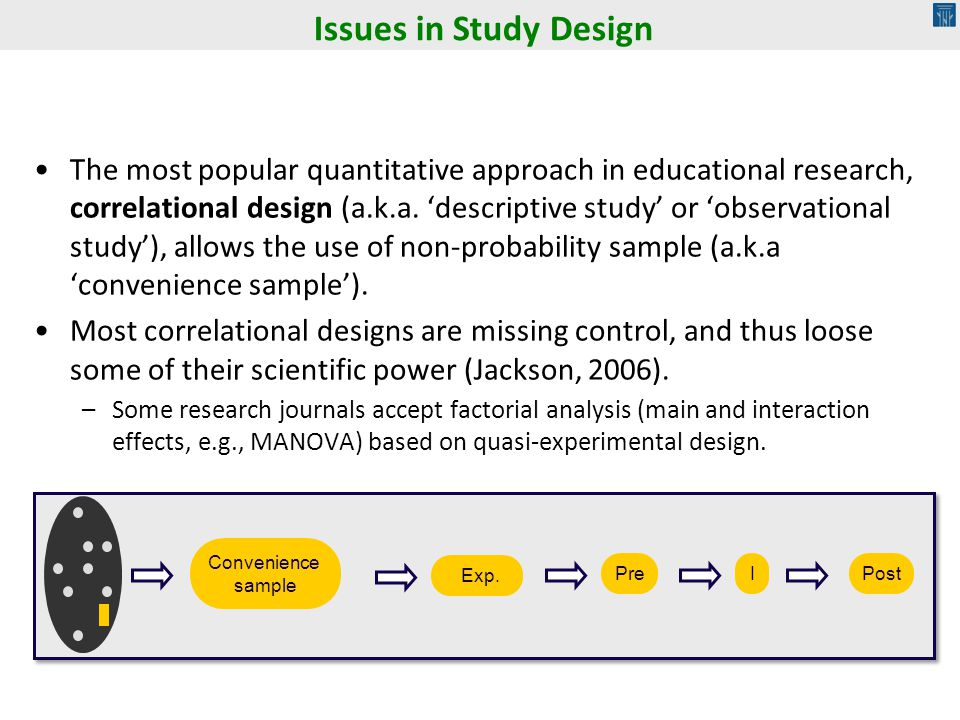 The most popular quantitative approach in educational research, correlational design (a.k.a. descriptive study or observational study), allows the use