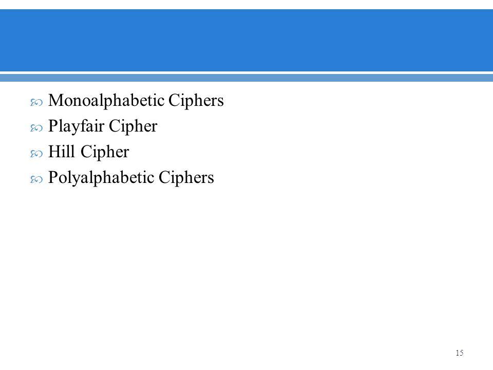 Monoalphabetic Ciphers Playfair Cipher Hill Cipher Polyalphabetic Ciphers 15
