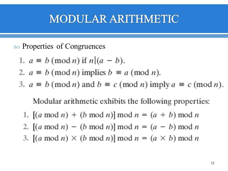 Properties of Congruences 38
