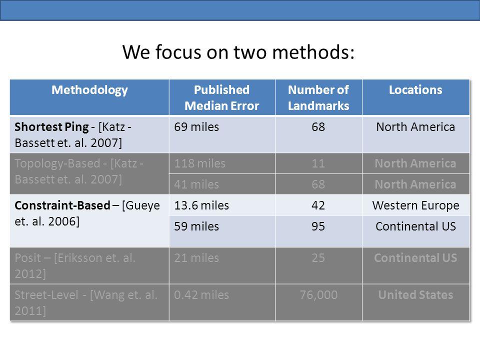 We focus on two methods: