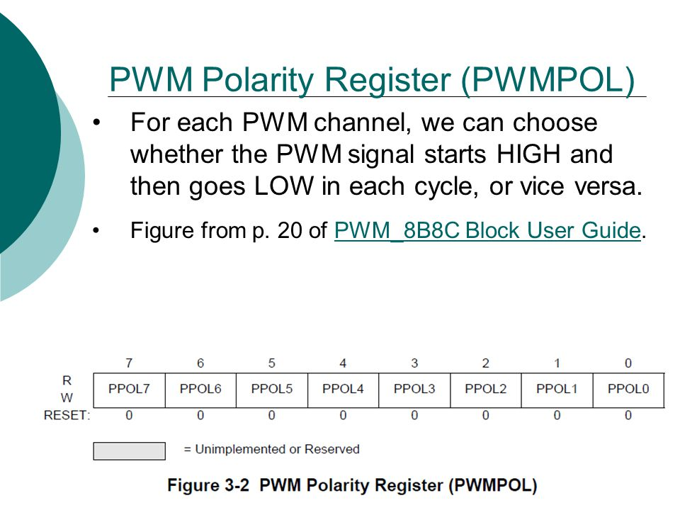 PWM Polarity Register (PWMPOL) For each PWM channel, we can choose whether the PWM signal starts HIGH and then goes LOW in each cycle, or vice versa.