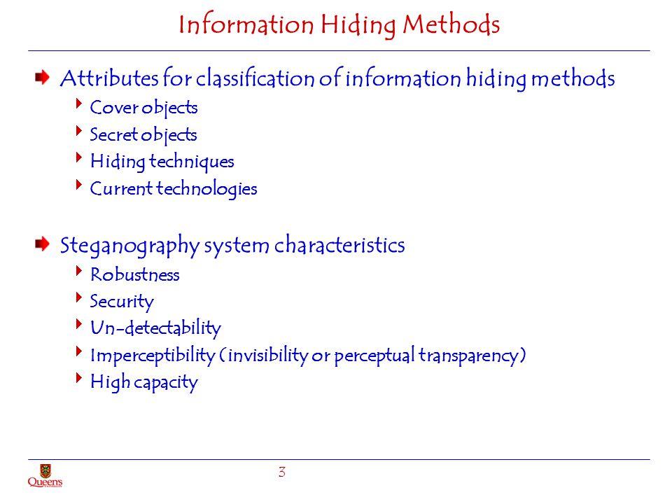 Information Hiding Methods Attributes for classification of information hiding methods Cover objects Secret objects Hiding techniques Current technolo