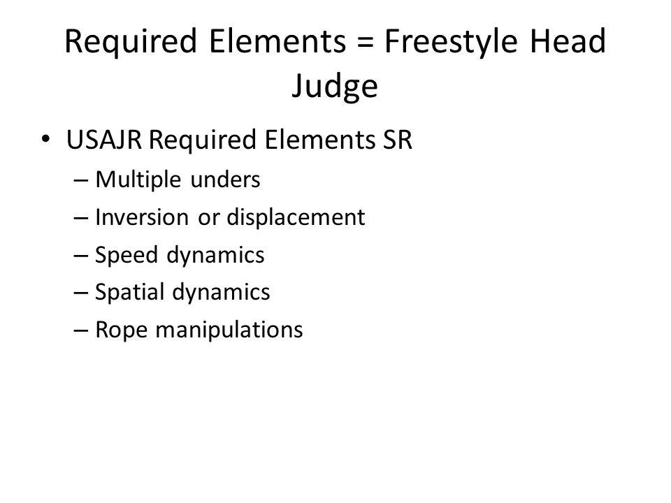 Required Elements = Freestyle Head Judge USAJR Required Elements SR – Multiple unders – Inversion or displacement – Speed dynamics – Spatial dynamics – Rope manipulations