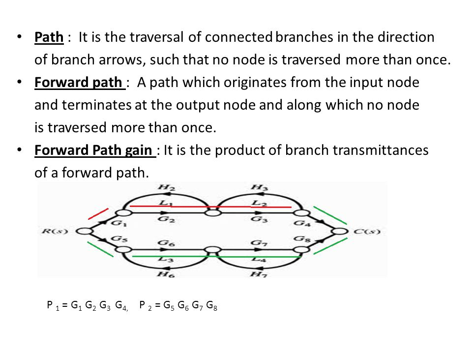 Path : It is the traversal of connected branches in the direction of branch arrows, such that no node is traversed more than once. Forward path : A pa