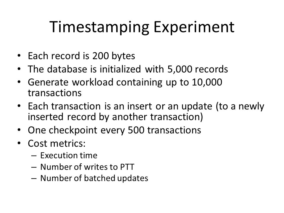 Utilization Experiment 50,000 transactions Each transaction inserts or updates a record Varying the insert / update ratio in the workload Each record is 200 bytes Utilize the delta-compression technique to compress the historical versions (as they share a lot of common bits with newer version)