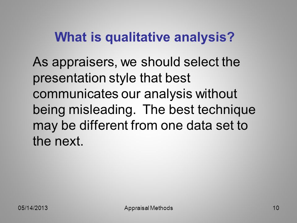 As appraisers, we should select the presentation style that best communicates our analysis without being misleading. The best technique may be differe