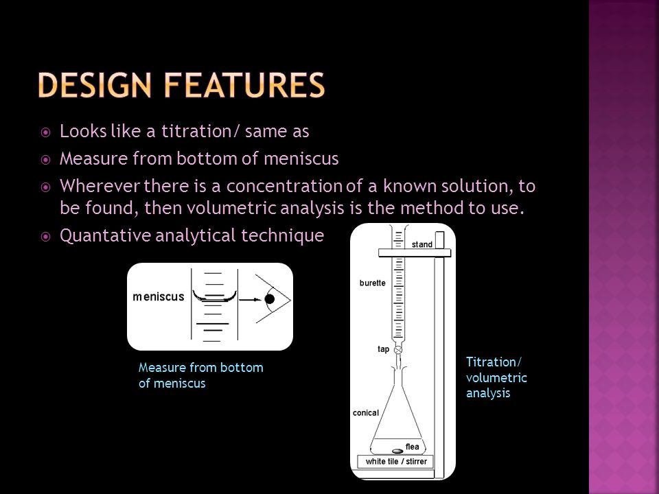 Looks like a titration/ same as Measure from bottom of meniscus Wherever there is a concentration of a known solution, to be found, then volumetric analysis is the method to use.