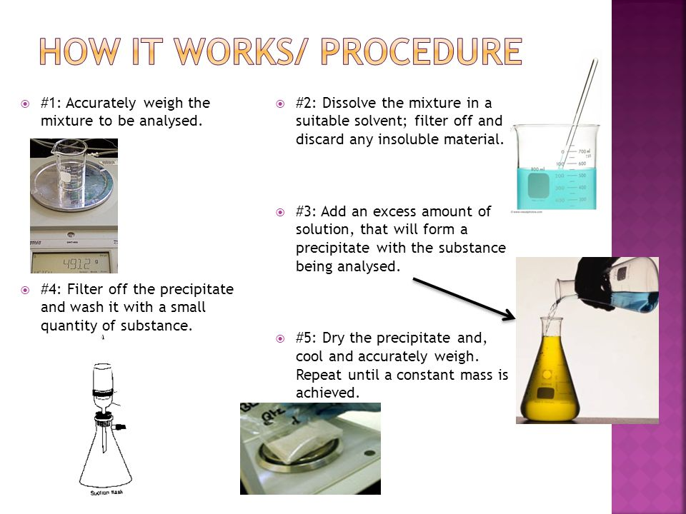 #1: Accurately weigh the mixture to be analysed.
