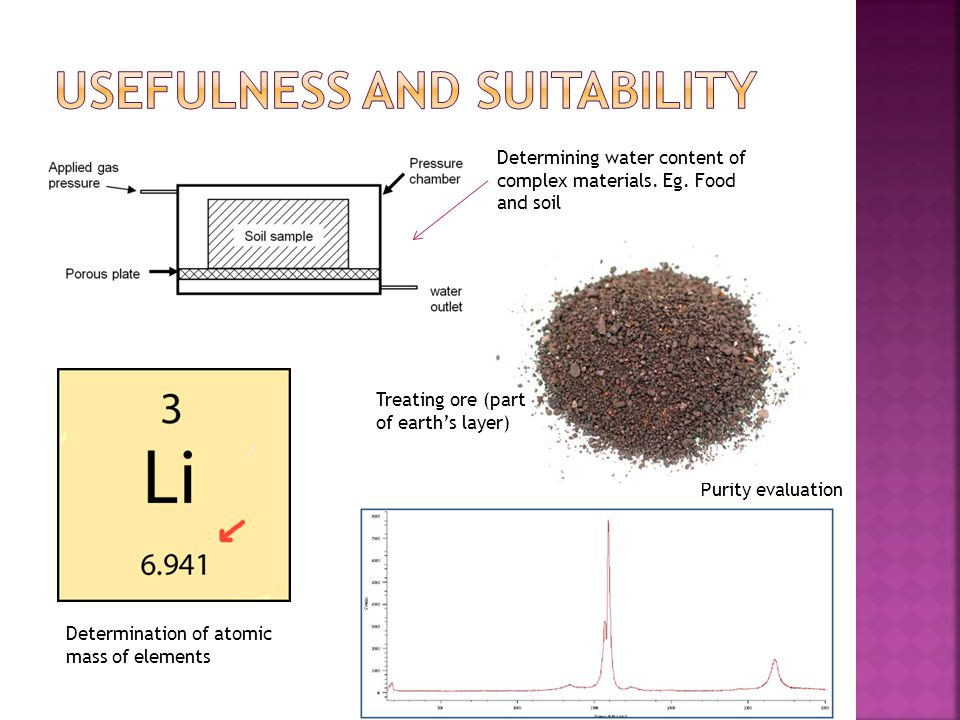 Determination of atomic mass of elements Purity evaluation Determining water content of complex materials. Eg. Food and soil Treating ore (part of ear
