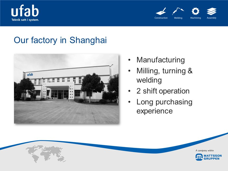 Our factory in Shanghai Manufacturing Milling, turning & welding 2 shift operation Long purchasing experience